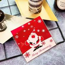 Emerra 50pcs Cute Cartoon Santa Claus Baking Package Biscuit Bag Snack Candy Self-sealed 10*10+3 Free Shipping