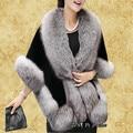 2017 Winter Leather Grass Fox Fur Mink Rabbit Poncho Cape Bridal Wedding Shawl Cape Women Vest Body Warmer Coat