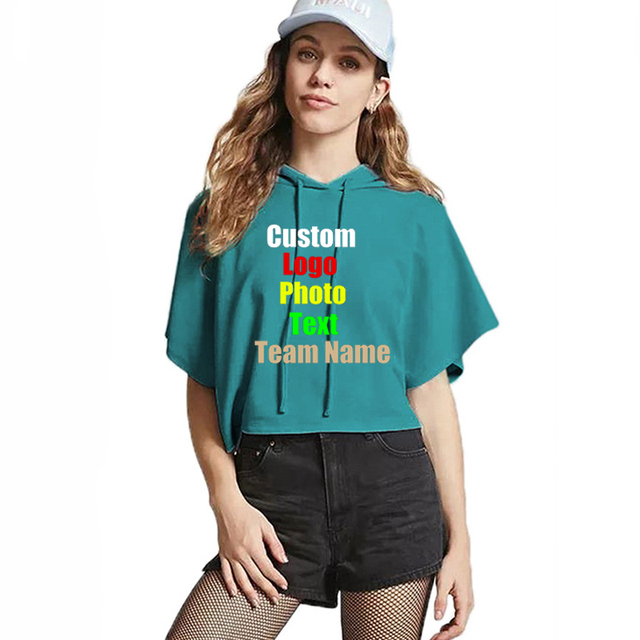Sexy Hooded Women Summer T-shirt Custom Logo Photo Text Personalized DIY  Printed Female Batwing Sleeve Punk T shirt Crop Tops