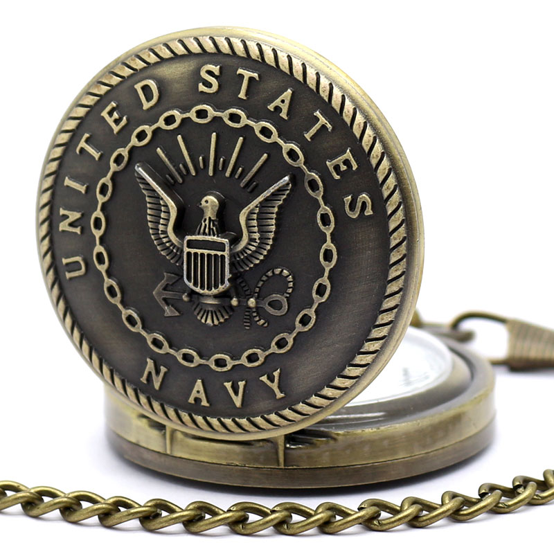 Retro Bronze Big Man Pocket Watch United States Navy Pocket Watch Relogio Dropshipping Vintage Army Military Watch With Chain