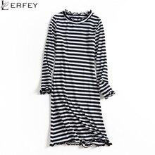 Lerfey Для женщин осень оболочка платье в полоску с длинным рукавом Повседневное облегающее мини Офисные наряды Vestidos вязаный Новый Костюмы