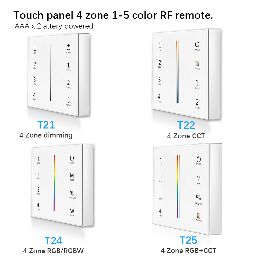 touch panel 4 zone rf remote 2 x aaa battery 2 4g rf touch screen control for cct dim rgb rgbw
