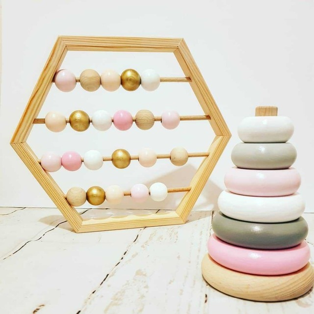New Nordic Style Natural Wooden Abacus With beads Craft Baby Early Learning Educational Toys Scandinavian Style Baby Room Decor