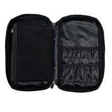 Women Cosmetic Bag Solid Color Leather Zipper Makeup Brush Bag Tool Brush Organizer Holder Bolsa De Cosmeticos #7206