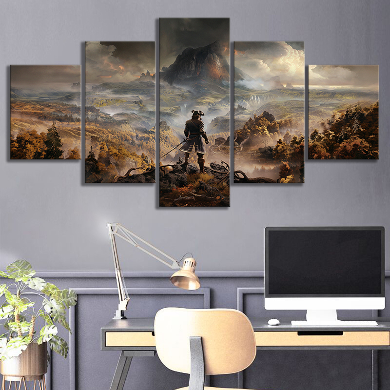 5 Panels GreedFall Video Games Art Fantasy Wall Art Game Scene Landscape Wall Paintings for Living Room Wall Decor 2