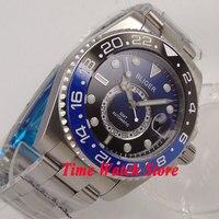 Bliger 43mm blue black dial sapphire glass luminous 24 hours GMT Automatic movement Men's watch men 233|Mechanical Watches| |  -