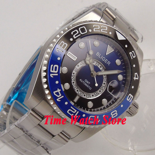 Bliger 43mm blue black dial sapphire glass luminous 24 hours GMT Automatic movement Men's watch men 233