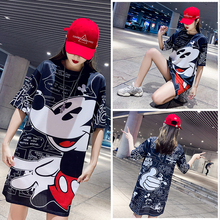 17 Colors 2019 New Fashion  White Minnie Printed Mesh Medium Thai Fast Drying Ice Silk Women Work Wear Dresses Slim