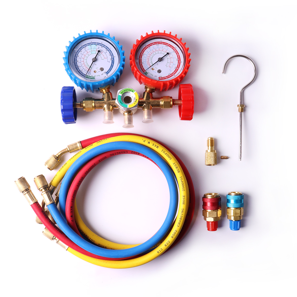 New Air Conditioning Red Blue H-L R134 Quick Couplers R12 R22 R502 and R134a A/C Manifold Brass Gauge Set with 3 Charging Hoses myrope r12 blue