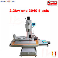 Three Dimensional 2 2kw 5 Axis 3040 Cnc Milling Machine With Ball Screw Water Tank For