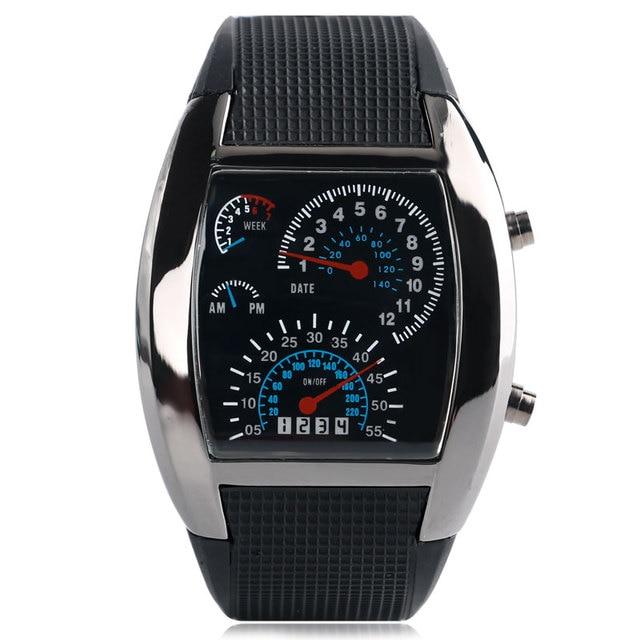 Modis Luar Ruangan Olahraga Speedometer Digital Jam Tangan Pria LED Ringan  Arloji Hitam Karet Tali Jam 5c76aba298