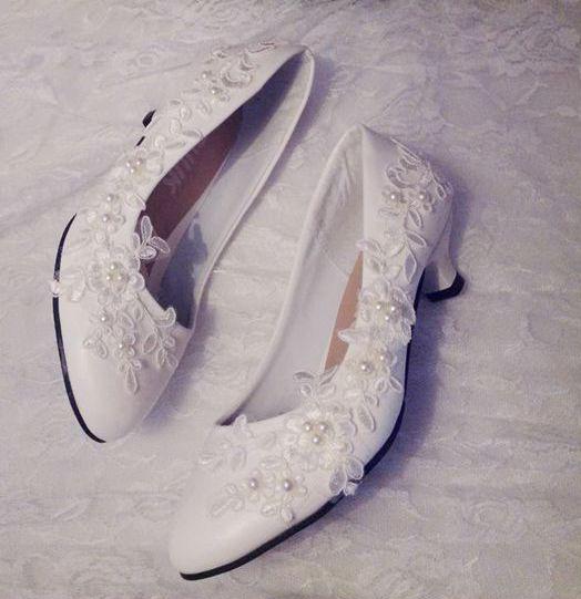 Ivory laces wedding shoes woman 3cm small heel bridal laces wedding pumps shoes female lady flower girl party proms dress shoes
