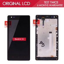 3G Verison 100% Original 1280×720 Display For XIAOMI Redmi 1S LCD Touch Screen with Metal Frame Front Bezel Red Rice 1S