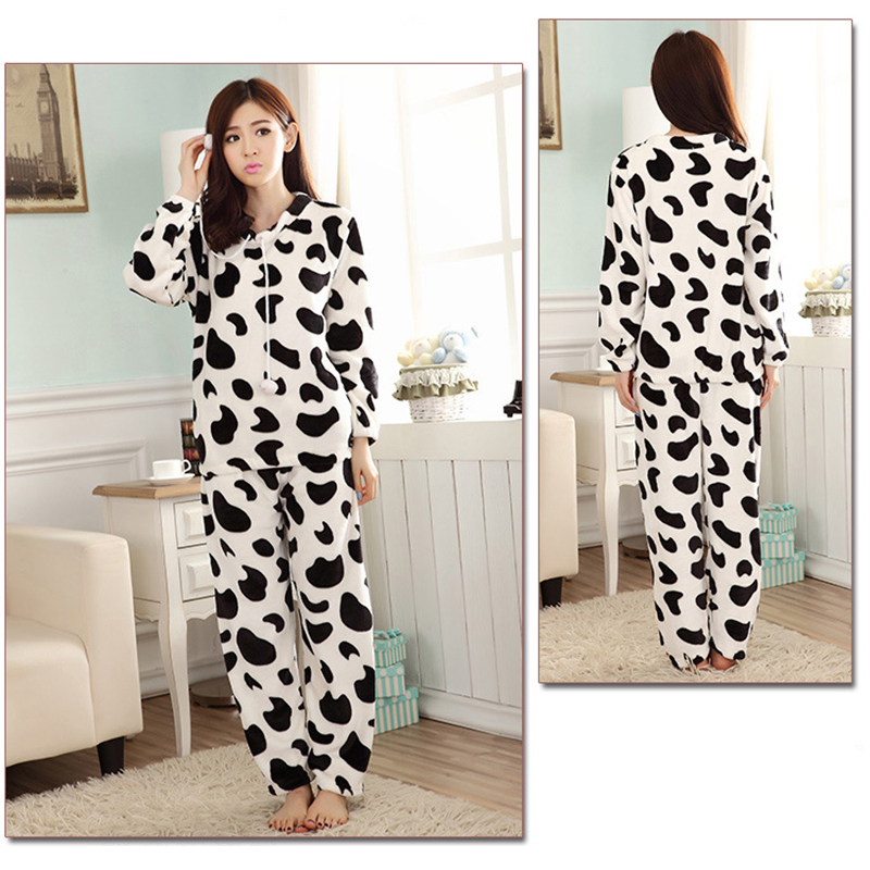 JULY'S SONG Cartoon Flannel Women Pajama Sets Autumn and Winter Cute Female Homewear Thick Warm Women Sleepwear 11