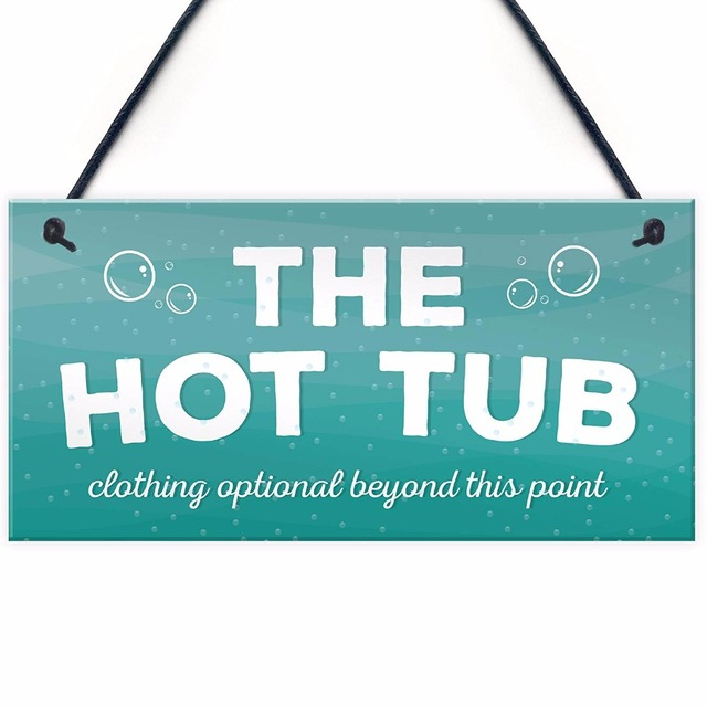 Meijiafei The Hot Tub Novelty Hanging Plaque Garden Pool Outdoor
