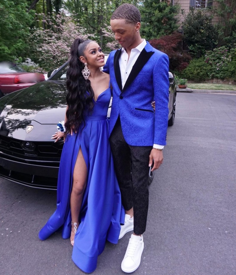 Cinderella Royal Blue V-Neck Spaghetti Straps A-Line Side Slit Satin   Prom     Dresses   Floor Length Cheap Party Gown For   Prom