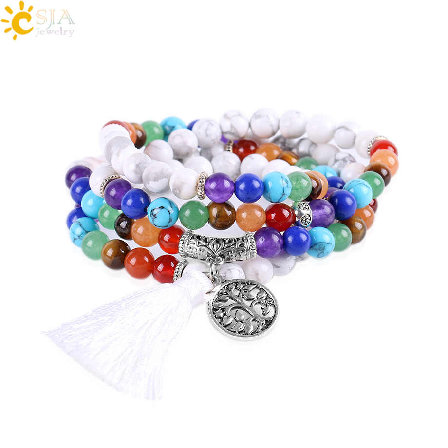 CSJA Natural Yoga 7 Chakra Balancing Multilayer Bracelets Women 2017 White Howlite Stone 108 Mala Beads Reiki Prayer Bijoux E664