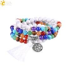 CSJA Natural Yoga 7 Chakra Balancing Multilayer Bracelets Women 2017 White Howlite Stone 108 Mala Beads Reiki Prayer Bijoux E664