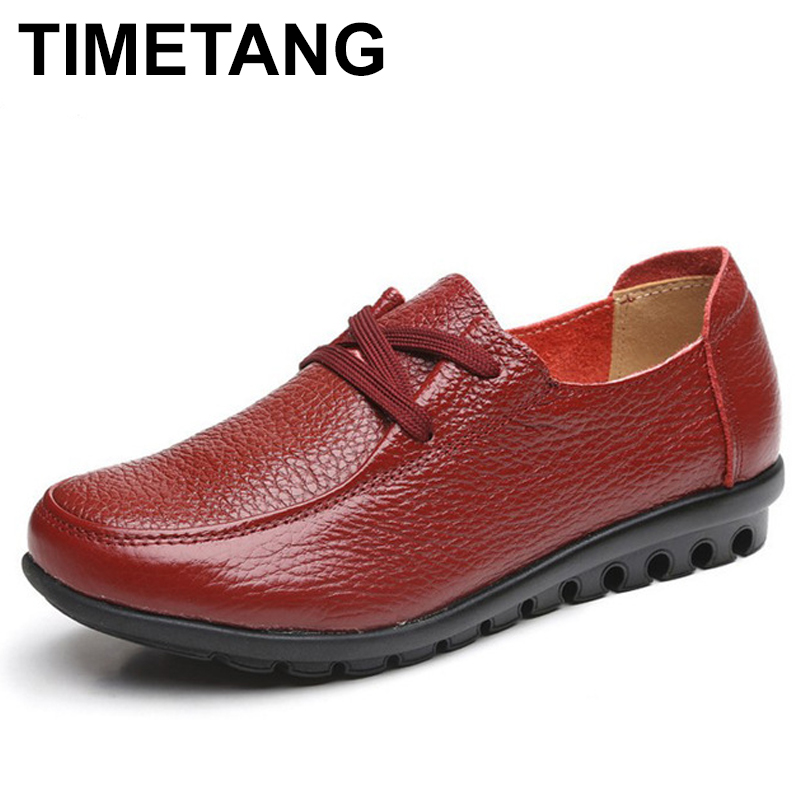 TIMETANG women Genuine Leather Shoes Moccasins Mother Loafers Soft Leisure Flats emale Driving Casual shoes Plus Size 35-43 C177 2017 new leather women flats moccasins loafers wild driving women casual shoes leisure concise flat in 7 colors footwear 918w