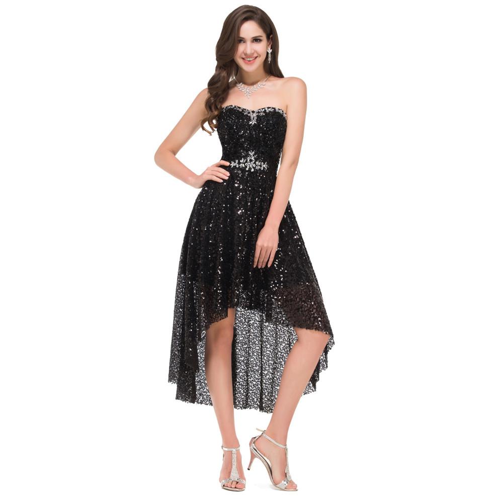 Grace Karin High Low Black Prom Dresses 2017 Short Front Long Back Evening Dress Vestidos de Festa Sequins Prom Dresses 8915 9
