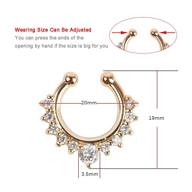 Qevila Crystal Fashion Clicker Fake Septum for Women Body Clip Hoop Vintage Fake Nose Ring Faux Piercing Body Jewelry Wholesale (2)
