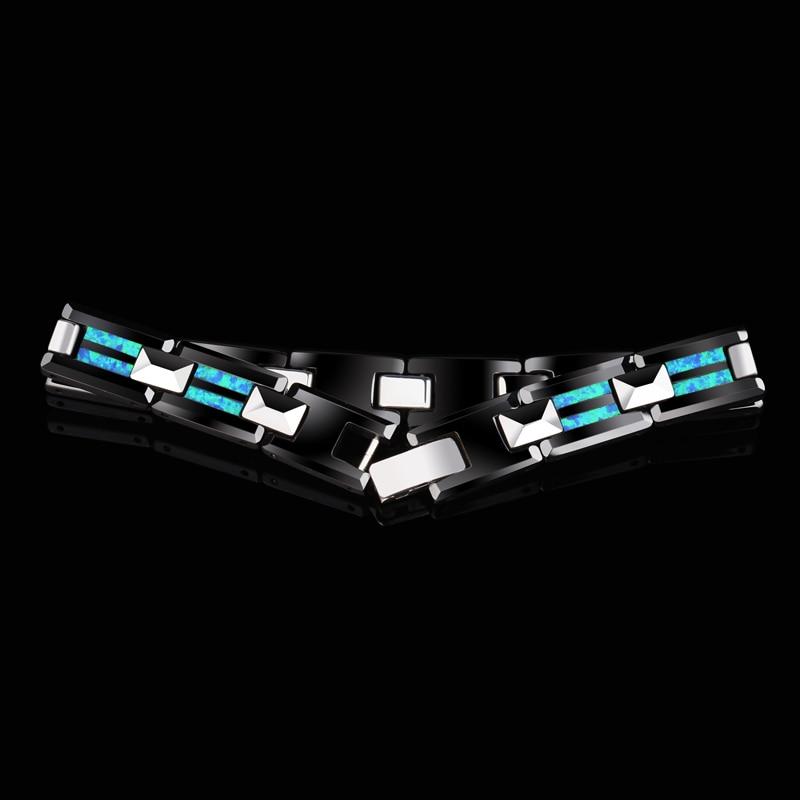 2018 Nuovo Design di Alta Qualità 10 millimetri di Larghezza Carburo di Tungsteno Braccialetti con il Lusso Opale Naturale dell'uomo Di Lusso Dei Monili Della Catena 20 di lunghezza - 3