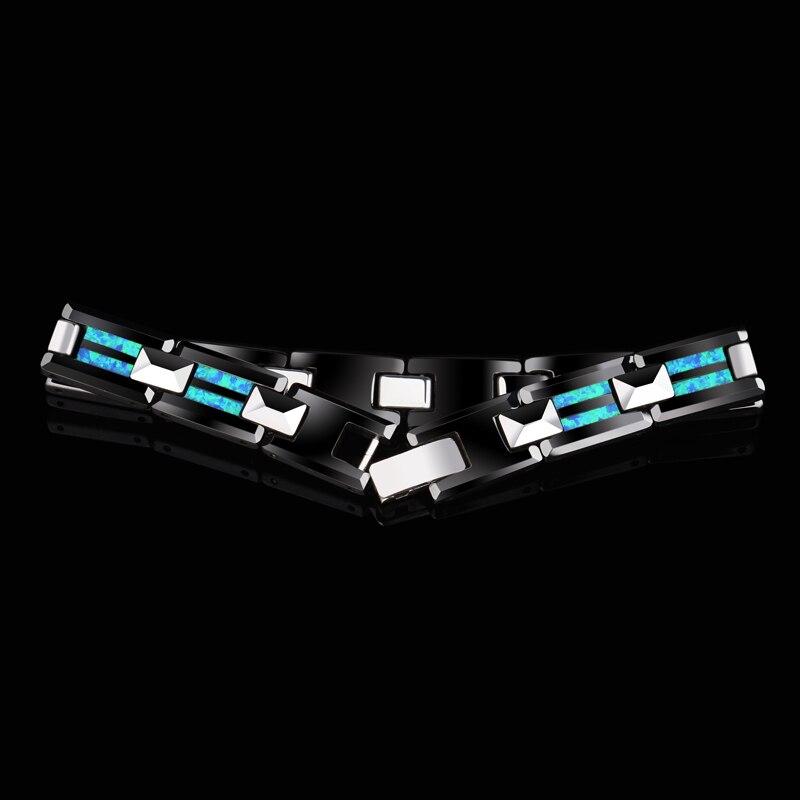 2018 novo design de alta qualidade 10mm largura tungstênio carboneto pulseiras com luxo natural opala homem luxo corrente jóias 20 comprimento - 3