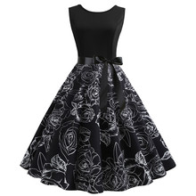 de7a03f33b26 KLV Autumn Spring Women Vintage Bodycon Sleeveless O Neck Party Prom Swing  Dress