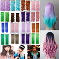 24inch 140g Natural Hair Clip In Hair Extension Long Wavy Purple Blue Pink Grey Red