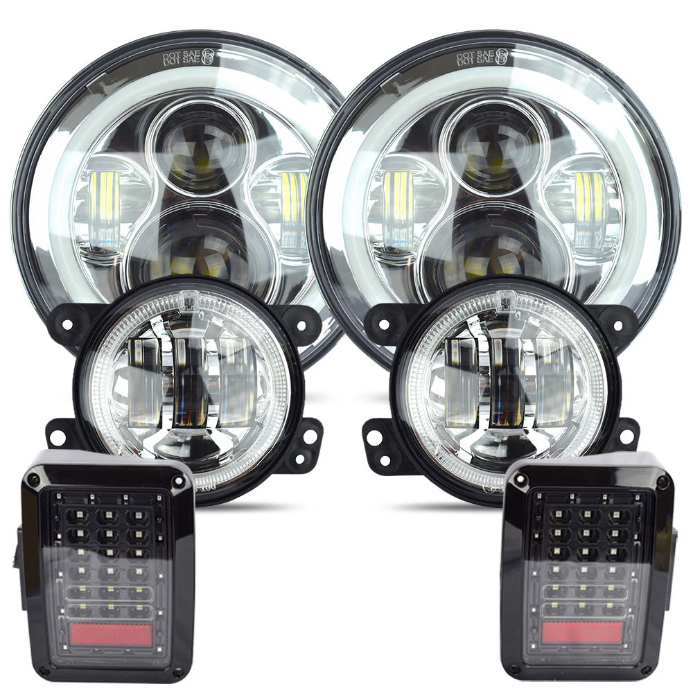 7 Daymaker LED Headlight 4 White Fog Lamp Tail Light Kit For Jeep wrangler 2007-17 Chrome set 2pcs car led headlight kit led bulb d33 h11 free canbus auto led lamps white headlamp with yellow light fog light for citroen c4