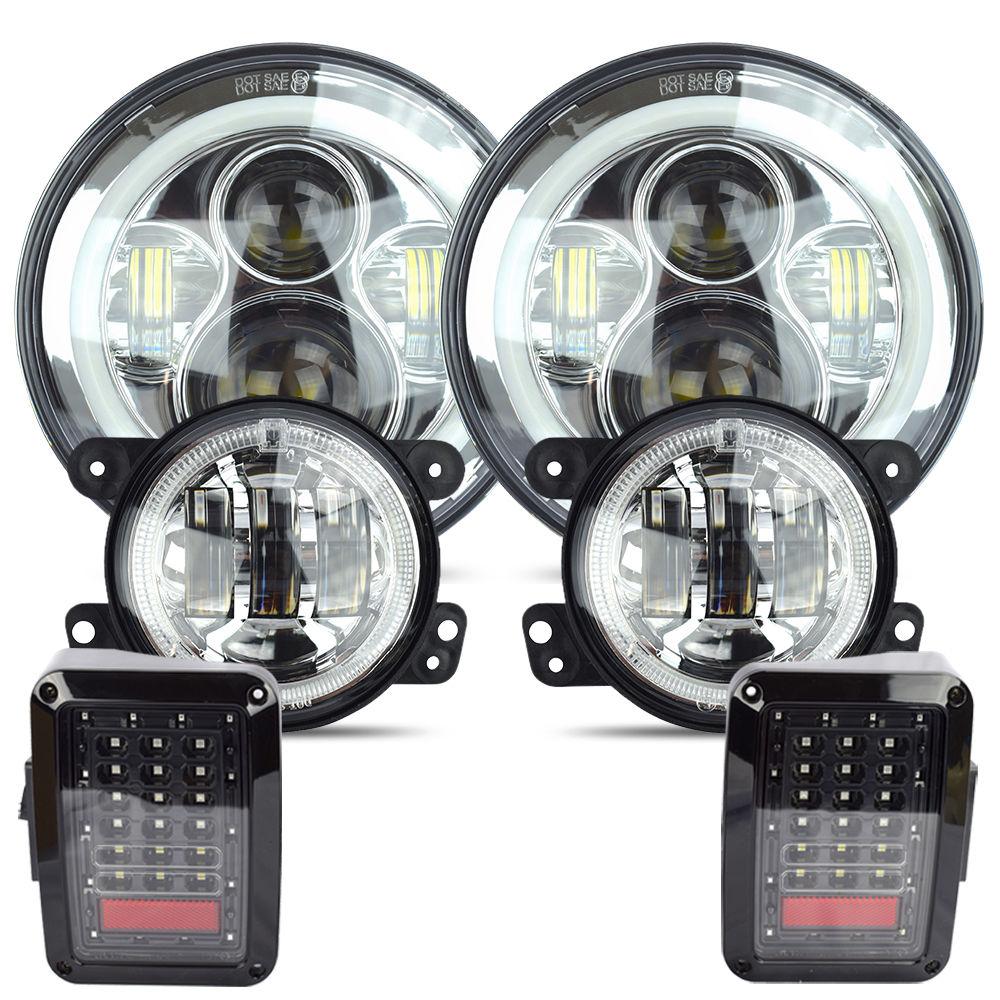 7 Daymaker LED Headlight 4 White Halo Fog Lamp Tail Light Kit For Jeep wrangler 2007-17 Chrome set