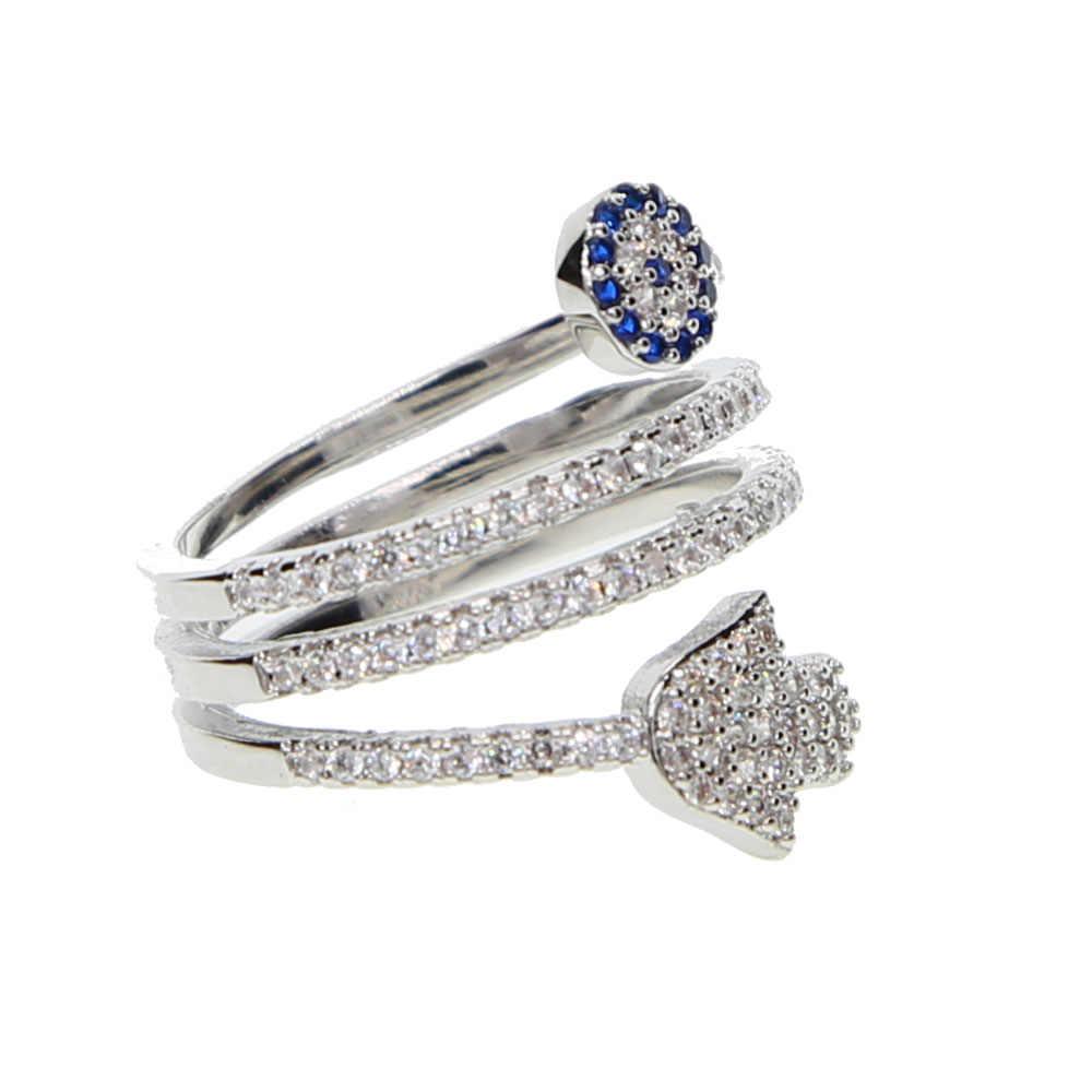 Nouveau Anillos haute qualité vis torsion anneaux avec Micro pavé Hamsa Fatima main pour paume oeil breloque cristaux femmes bijoux