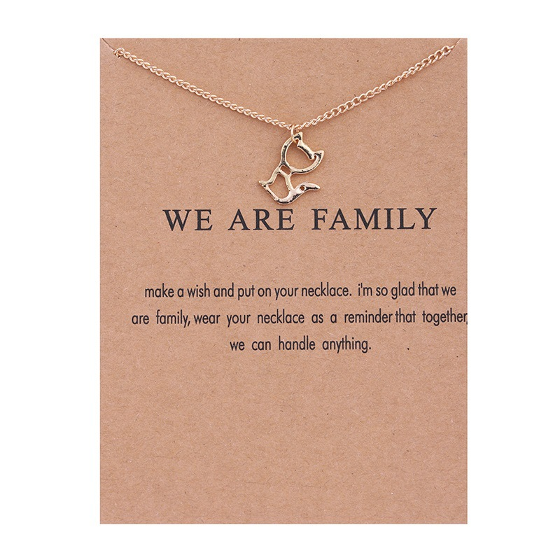Female Fashion Jewelry Hollow Cat Pendant Necklace We Are Family Gold Color Alloy Animal Short Necklace Choker