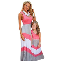 Summer New Fashion Family Matching Outfits Mother Daughter Striped Dress Family Look Mother Kids Clothes Mommy