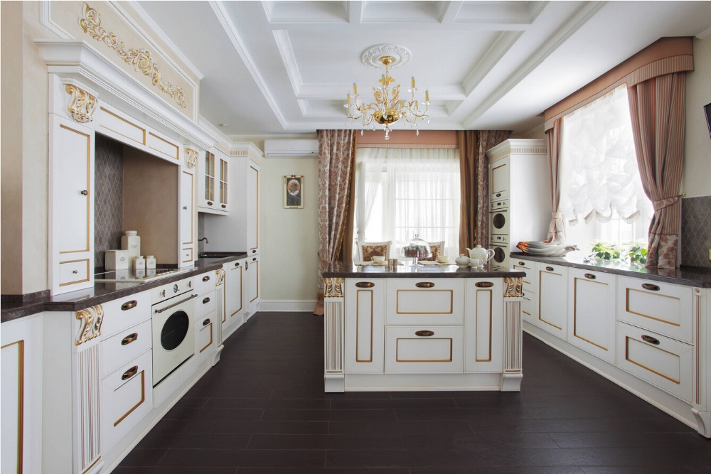 Buy 2017 solid wood painted kitchen for Muebles de cocina kitchen