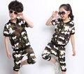 2015 crianças de verão conjuntos de roupas casuais Camuflagem terno das meninas dos meninos t-shirt de manga curta + Harem Pants crianças roupa do bebê set