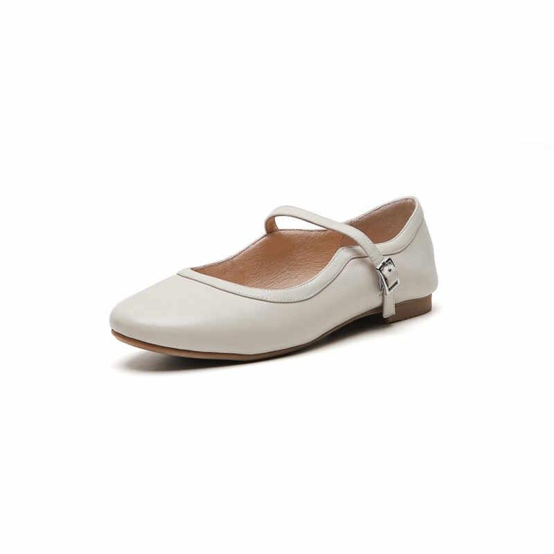 YMECHIC 2019 Mềm Phụ Nữ Da Thật Căn Hộ Đen Màu Be Giản Dị Khóa Mary Jane Giày Mùa Hè Mùa Xuân Ba Lê Căn Hộ Thời Trang Phụ Nữ của