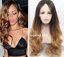 2016 Promotion womens synthetic lace front wig heat Heat resistant long ombre blonde dark roots wig