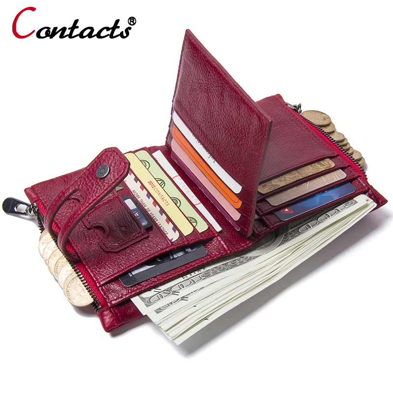 CONTACT'S Women Wallets Female purse Genuine Leather Womens Wallet card holder Zipper Coin Purse small Mini wallet women 2018