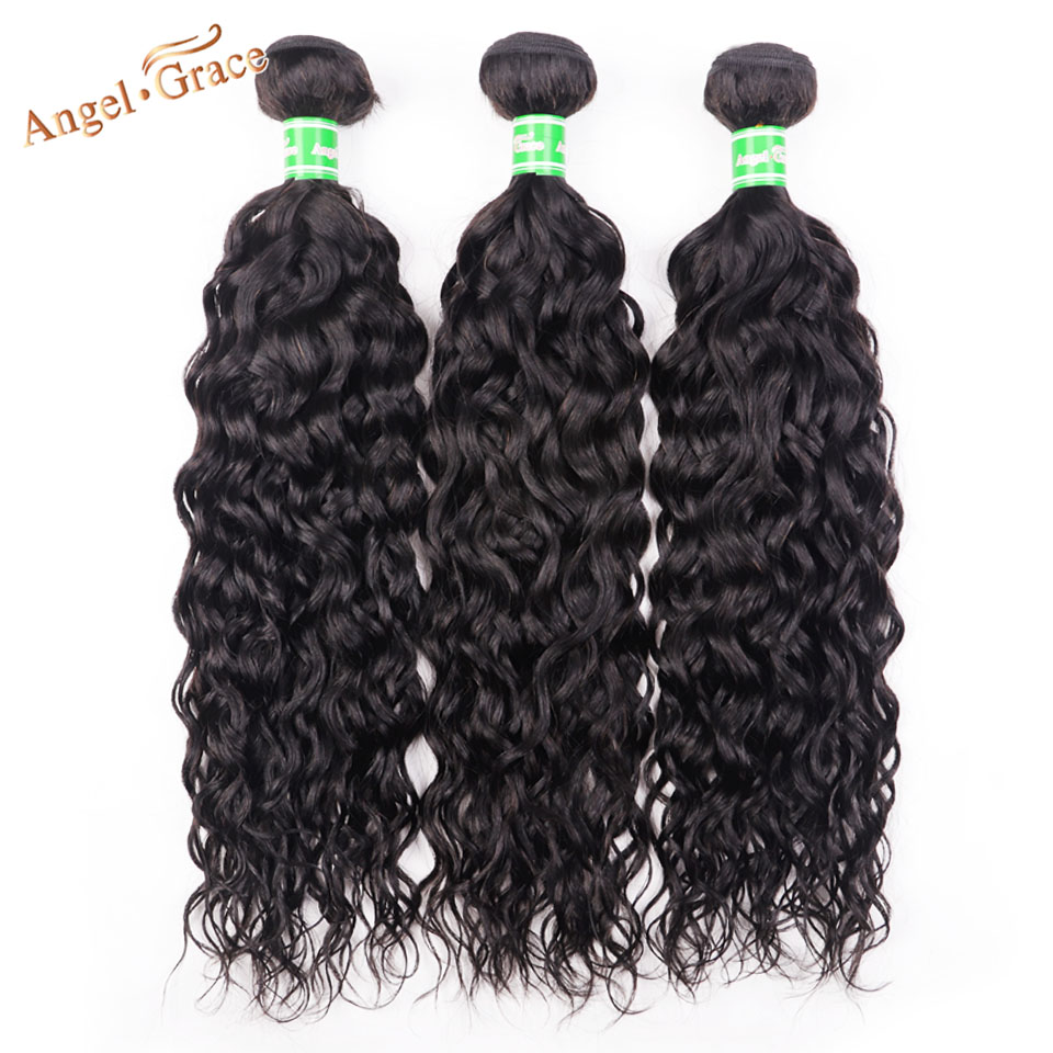 Peruvian Water Wave Hair 3 Bundles Deals Angel Grace Hair Remy Human Hair Weave Bundles 100g