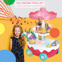 Music Trolley Music Ice Cream Play House Toy Plastic Toy Music Multicolor LED Rotating Multi Function Collection Novelty Game