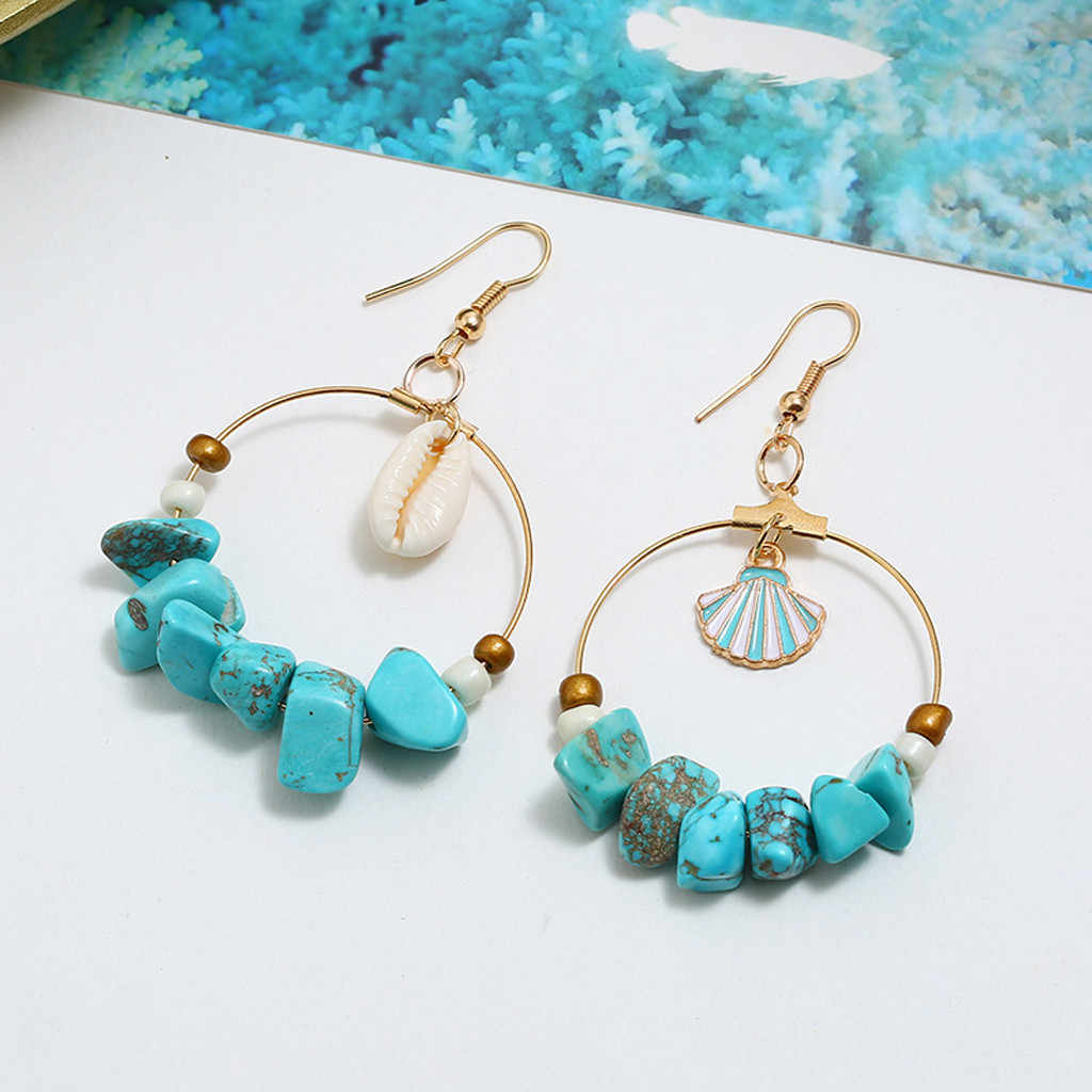 合金の高級スタッド天然シェル海スター非対称サークル形のイヤリングの女性のイヤリングのための適切な日常