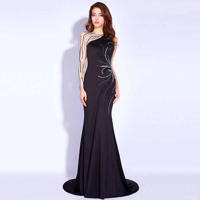 Black Formal Evening Prom Dresses Beading Pageant Wedding Party ...