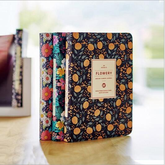 """Flowery Planner"" Faux Leather Cute Beautiful Monthly Weekly Planner Agenda Studium Diary Travel Journal Notebook"