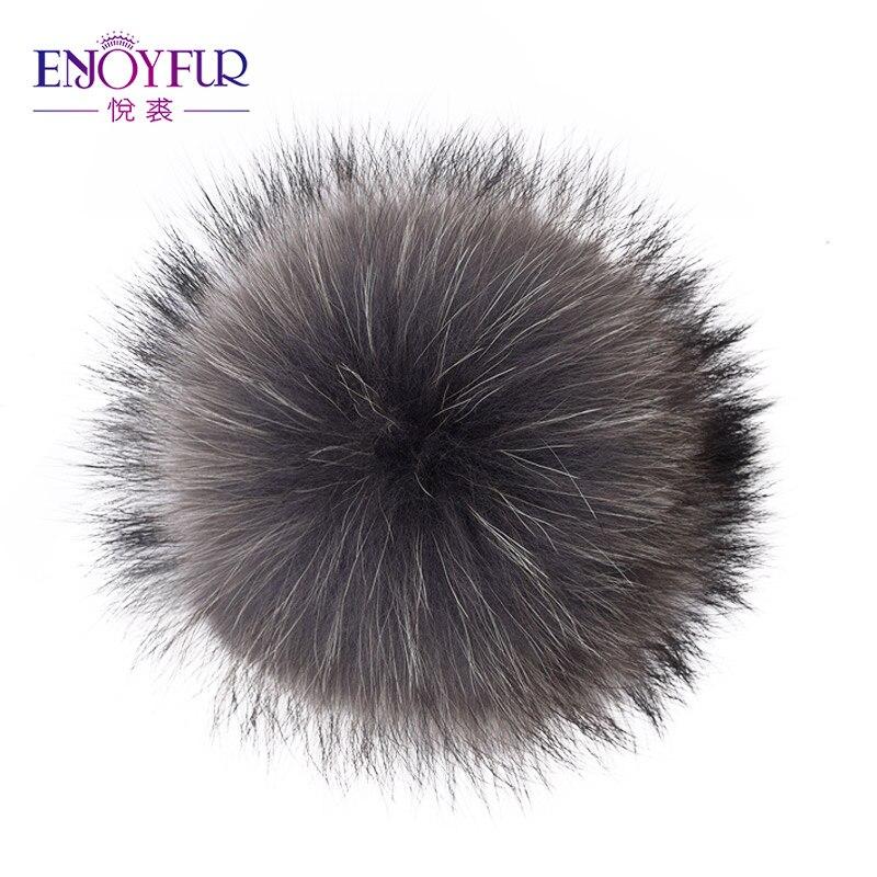 ENJOYFUR Pom-Pom Fox-Fur-Ball Raccoon-Fur Fluffy Real with 15cm Buttons