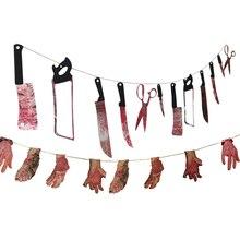 Guirnalda de banderines para colgar, casa embrujada, fiesta de terror, Halloween, decoración BZ