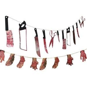 Image 1 - Horror upiorny Halloween Party nawiedzony dom wiszący Garland baner proporczyków dekoracja BZ