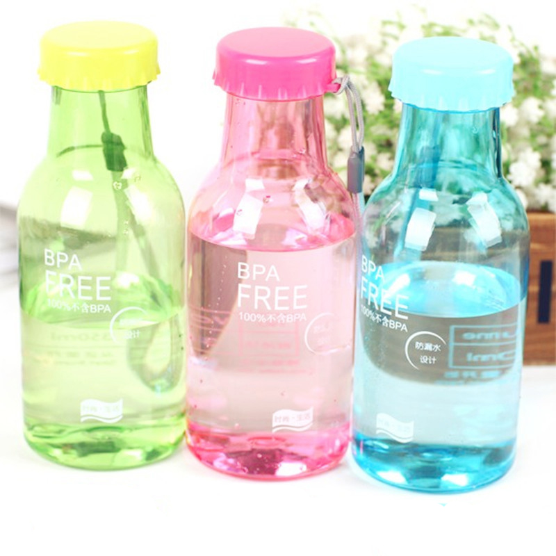 Candy Colord Portable Portable Leak-proof Bike Sports Unbreakable 550ml Plastic Water Bottle