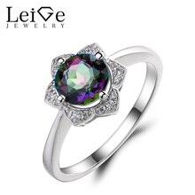 Leige Jewelry Mystic Topaz Promise Wedding Rings 925 Sterling Silver Ring Round Cut Gemstone November Birthstone Rings for Women