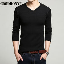 HS Factory Wholesale Autumn Winter Thick Warm Cashmere Wool Sweater Men Solid Color V Neck Knitted Pullover Slim Fit Pull T 6645